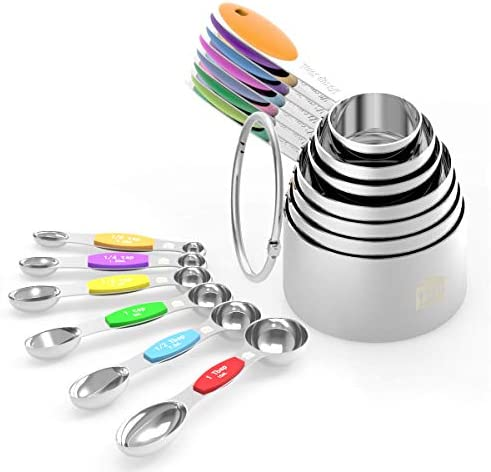 Measuring Cups Spoons Set - Wildone Stainless Steel Cups and Magnetic Measuring Spoons Set of 13, for Dry and Liquid Ingredients, including 7 Nesting Cups, 6 Spoons 1