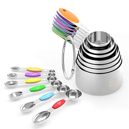 Measuring Cups Spoons Set - Wildone Stainless Steel Cups and Magnetic Measuring Spoons Set of 13, for Dry and Liquid Ingredients, including 7 Nesting Cups, 6 Spoons