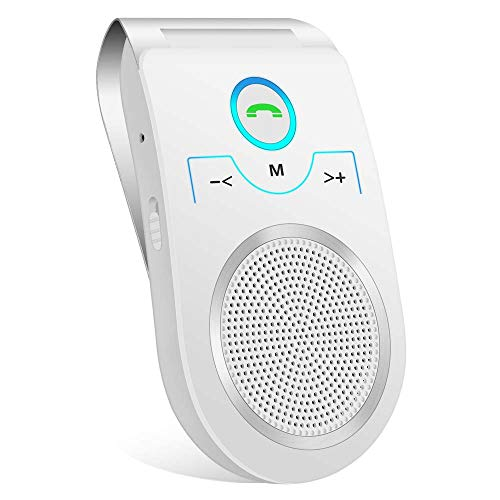 Car Hands Free Bluetooth Speakerphone, Aigital Upgraded Wireless in-car Speaker for Cell Phone, Loud and Clear Sound Quality for Hands-Free Talking, GPS Navigation and Music - White