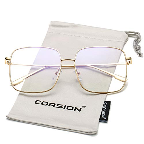 COASION Oversized Fashion Square Sunglasses for Women Designer Metal UV400 Sun Glasses (Gold Frame/Clear Lens)