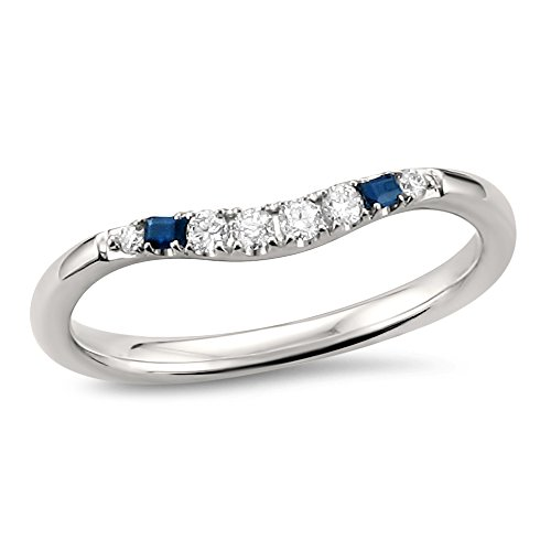 14k White Gold Blue Sapphire Baguette & Round Diamond Curved Wedding Band Ring (1/7 cttw, H I, SI2 I1)