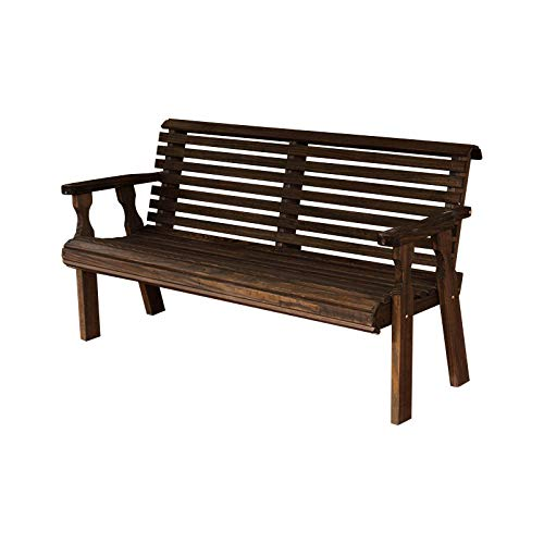 (CAF Amish Heavy Duty 800 Lb Roll Back Pressure Treated Garden Bench (4 Foot, Dark Walnut Stain))