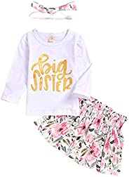 Gyratedream Baby Girl Sister Clothing Sets Newborn Alpha-Printed Romper +Floral Printed Pants + Headband Set