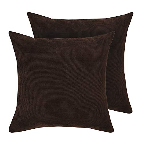 Deconovo Pillow Covers 18 x 18 Inch Corduroy Throw Cushion Covers Soft Corduroy Pillow Covers with Zipper Throw Pillows Covers for Nap Brown Set of 2 No Pillow Insert