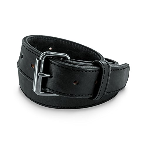 Hanks Extreme - Leather Gun Belt for CCW - Concealed Carry - 17oz. Premium Leather Belt - Made in USA - 100-Year Warranty - Black - Size 50