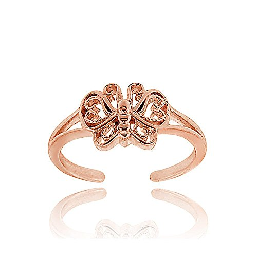 Hoops & Loops Rose Gold Flash Sterling Silver Butterfly Toe Ring