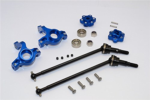 Axial Yeti (AX90026) & Yeti SCORE (AX90068) Upgrade Parts Aluminum Front Knuckle Arm With Hex Adapters & Steel Front CVD Drive Shaft - 6Pcs Set (Thickness Design) Blue -