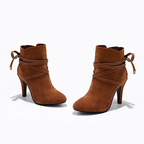 COOLCEPT Women Fashion Boots High Heel Brown Q1tz2p