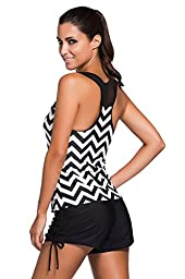 HOTAPEI Women Swimwear Two Piece Tankini Tops Black White Zigzag Print XL