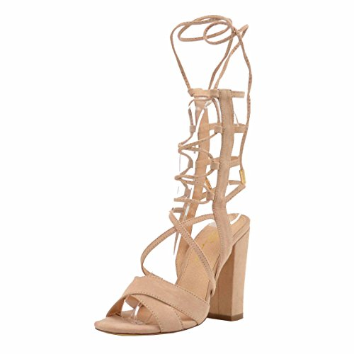 Women's Casual Sandal | Round Toe | Strappy Gladiator Lace Up | Block Chunky Heel Sandals (10, Camel)