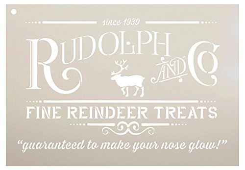 Rudolph and Co. Stencil by StudioR12 | Reindeer Treats Christmas Word Art - Reusable Mylar Template | Painting, Chalk | Use for Crafting DIY Christmas Signs for Holiday Decor (13