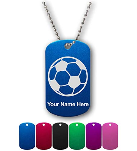 Military Style ID Tag, Soccer Ball, Personalized Engraving Included
