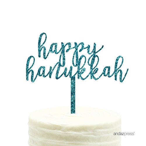 Andaz Press Holiday Acrylic Cake Toppers, Diamond Blue Aqua Glitter, Happy Hanukkah, 1-Pack, Decor Decorations