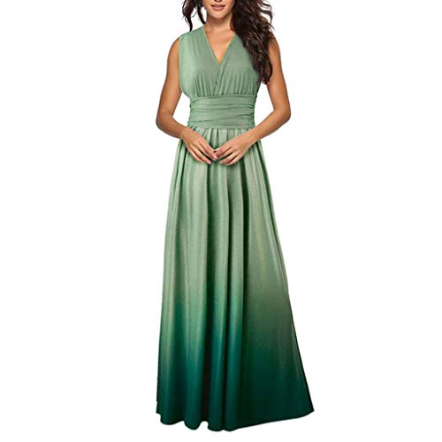 Tantisy ♣↭♣ Women's Backless Gown Dress Multi-Way Wrap Halter Cocktail Dress Bandage Bridesmaid Long Dress/Multicolor Green ()