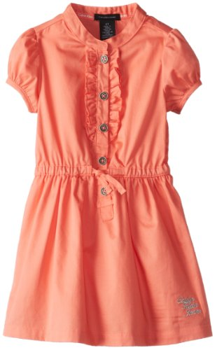 Calvin Klein Girls 2-6X Tie Waist Ruffle Bib Dress, Orange, 6