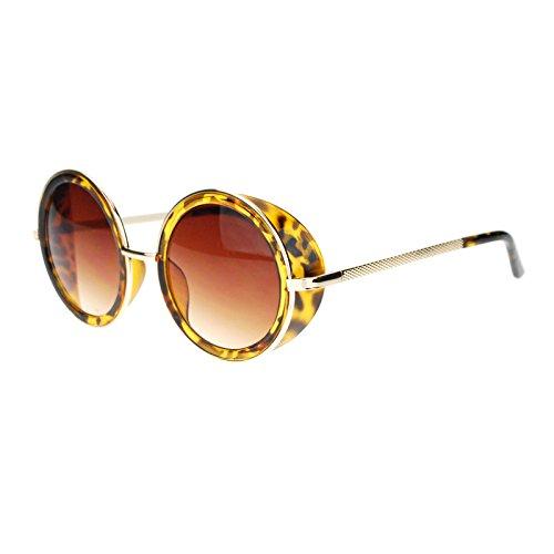 Side Visor Circle Round Lens Retro Victorian Steam Punk Sunglasses Tortoise - Victorian Steampunk Sunglasses