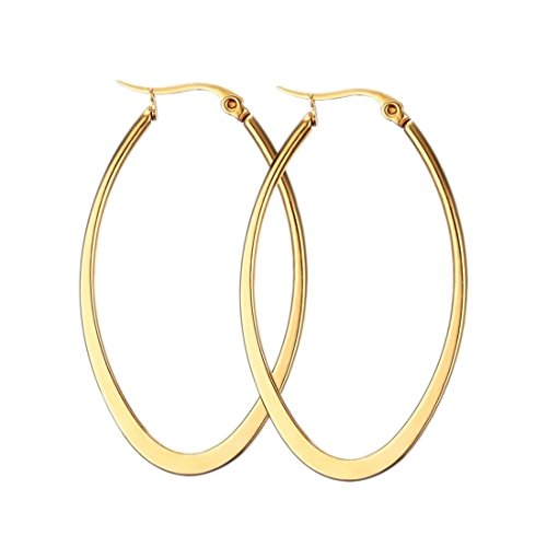 Mengpa Gold Oval Hoop Earrings for Women Titanium Steel (Gold Titanium Earrings)
