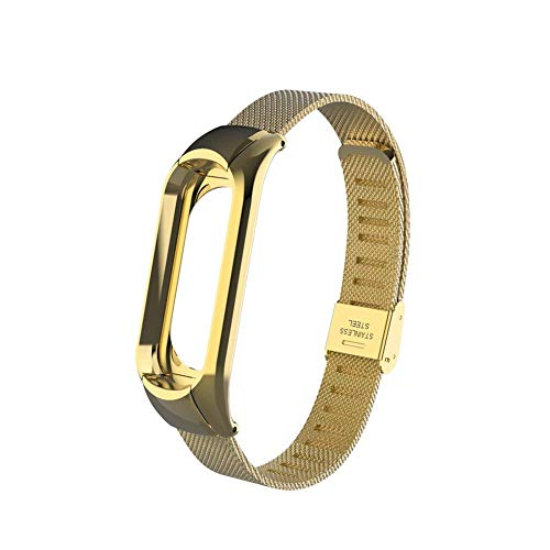 OLLIVAN Xiaomi Mi Band 3 Replacement Strap, Stainless Steel Wristband Bracelet Replacement Band Wrist Strap for Mi Band 3 Tracker, Host Remove Easily via Double Elastic Buckle (Buckle Gold)
