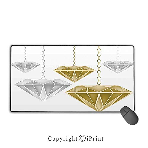Mouse pad with Lock,Diamonds,Fashion Figures Hanging in The Air Vivid Classical Shapes Wealth Surprise Theme Decorative,Silver Golden, Non-Slip Rubber Base,15.8
