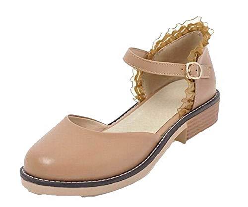 Sandales Cuir Femme PU Abricot Unie Couleur Bas Talon GMBLB015312 AgooLar Boucle à PITqzzn