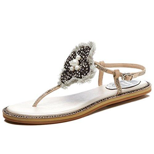fiore Sandali in romani GAOLIXIA di strass piatti scarpe Ladies T sandali strap pelle sandali perline Toe Womens Estate vera Albicocca Clip casual gqYfqw68x