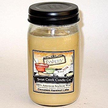 24 Oz Candle - Swan Creek 100% American Soybean 24 Oz. Jar Candle - Cinnamon Hazelnut Latte