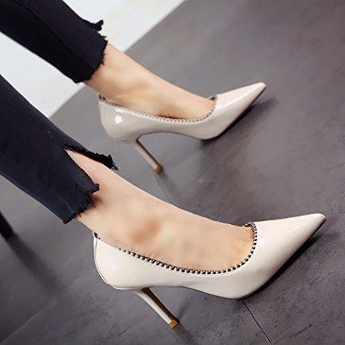Primavera Zapatos y Tacones Verano b Mujeres Altos Moda Zapatilla de Delgados Sexy única Altos FLYRCX Parte Remaches Tacones los qvwTFx8