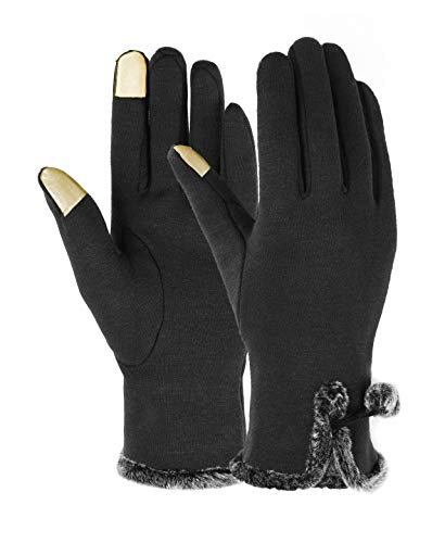 Spiritlele Winter ScreenTouch Gloves Women with Pom Pom Fur Ball Black
