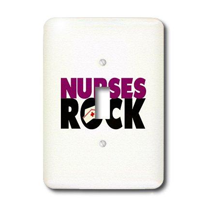 3dRose Lsp_16640_1 Nurses Rock Violet Black Single Toggle Switch