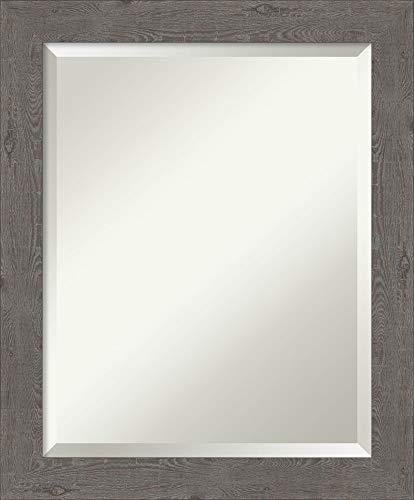 Framed Vanity Mirror | Bathroom Mirrors for Wall | Rustic Plank Grey -