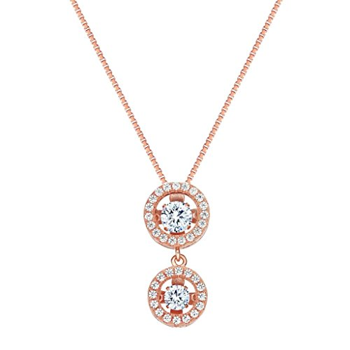 Twinkle Heart Zirconia Cubic - NANAS Silver Round Double Halo Dancing Stone (CZ) Pendant/necklace - Rose Gold Flashed