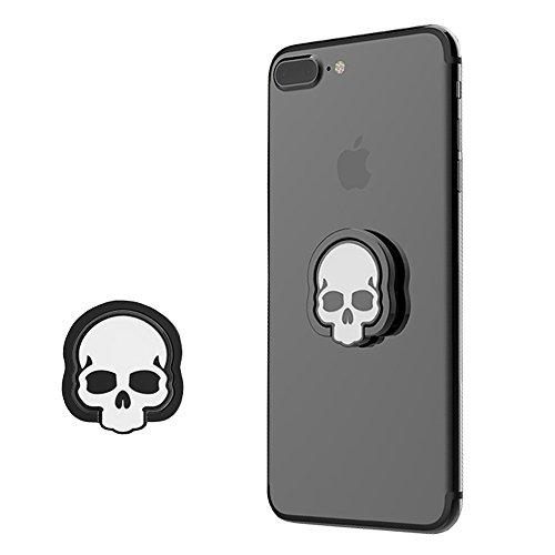 Urberry Phone Ring Stand Holder, Skull Printed Adjustable Universal Smartphones Grip Kickstand Holder (Silver)