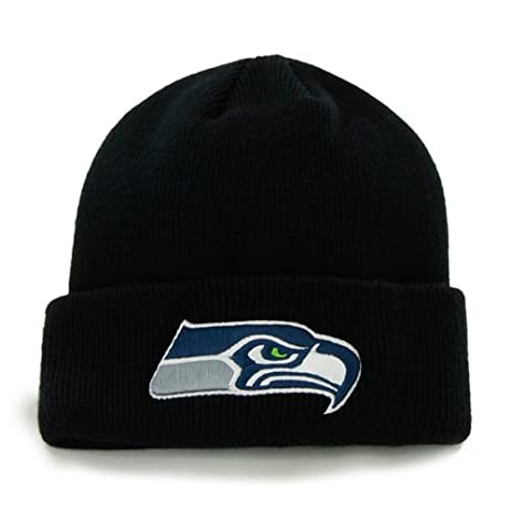 ... various colors 0db16 036a8 Seattle Seahawks Black Cuff Beanie Hat - NFL  Cuffed Winter Knit Toque ... c0931ade3