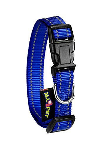 All4pet DC-F50B Adjustable Nylon Dog Collar, Medium/Large, Blue