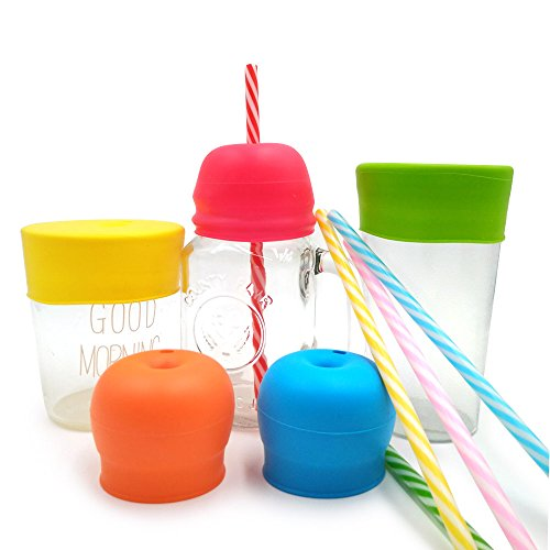 Silicone Sippy Cup Lids, Philyer Make Any Cup Spill-Proof Training Cup or Bottle for Babies,Toddlers and Kids , BPA Free, Leak Proof - 5 Pack Straw Lids and Drinking Straws - Infant Spill Proof Baby Bottle
