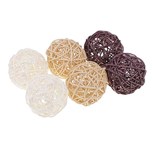 SM SunniMix 3/5/7cm Handmade Wicker Rattan Balls, Garden, Wedding, Party Decorative Crafts, Vase Fillers, Rabbit, Parrot, Bird Toys, White, Coffee, Natural Color - 6pcs 7cm ()