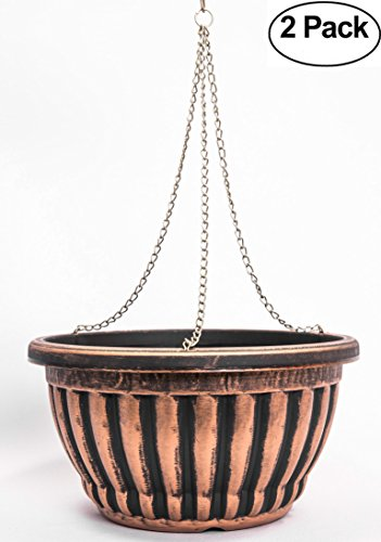 Set of 2 Large Hanging Rustic Victorian Look Flowerpot/Nursery Planter for Indoor, Outdoor, Garden Patio Office Ornaments Home Decor Use Long Lasting Reusable Light Weight Water Resistant (Copper)
