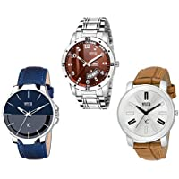 YOUTH CLUB Analogue Brown Dial Combo of 3 Men's Watch