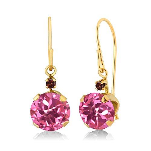 Topaz Garnet & Pink Earrings (2.04 Ct Round Pink Mystic Topaz Red Garnet 14K Yellow Gold Earrings)