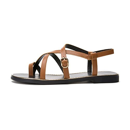 Fashion UK5 Peep Brown Flat Ladies Diamante Brown CJC Color 5 Leather Sling CN38 Back Sandals EU38 Toe Size q06FwUx