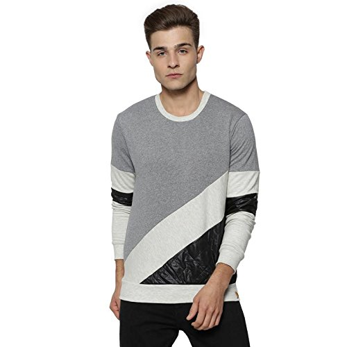 33d7f2df Campus Sutra Men's Cotton Full Sleeve Solid Sweatshirt (Grey, Cream and  Black, Small