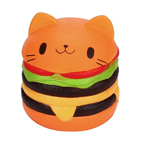 Jumbo Squishy Hamburger Cat Squeeze Toys, callm Slow Rising Soft Cream Scented Charms Squishy Stress Reliever Toys for Kids and Adults (Orange)