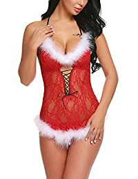 Avidlove Womens Christmas Lingerie Red Babydolls Lace Chemise Santa dress