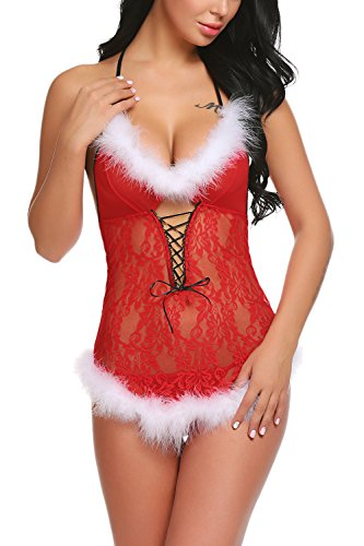 ADOME Womens Christmas Lingerie Red Babydolls Santa Dress Lace Chemise Red Small