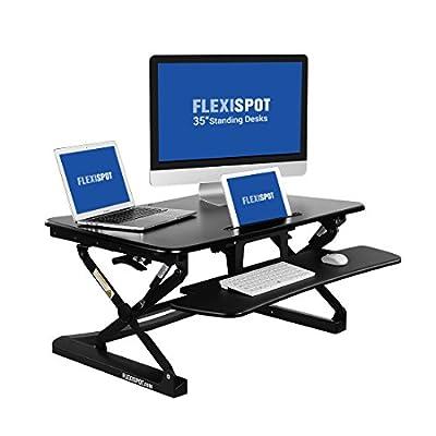 "FlexiSpot Standing Desk - 35"" wide platform Height Adjustable Stand up Desk Riser with Removable Keyboard Tray (M2B-M-SIZE)"