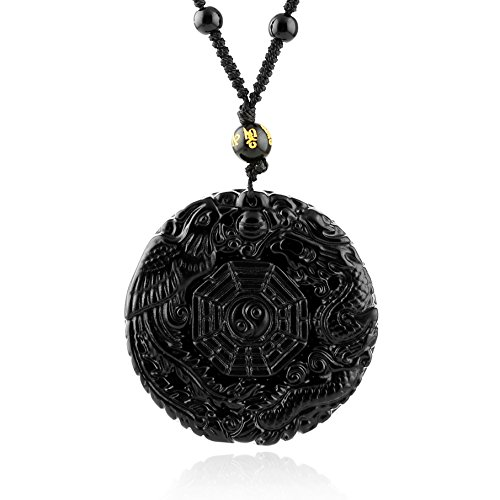 HZMAN Jewelry Obsidian Crystal Pendant Necklace, Elegant Round Natural Dragon and Phoenix Pattern with Bead Chain for Men or Women