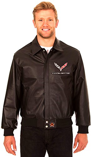 Chevy Corvette Men's Black Leather Bomber Jacket with Embroidered Applique Logos (3X) by J.H. Design