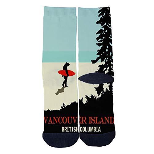 (Vancouver Island Canada Retro Poster Socks Custom Crew Socks Men/Women Casual Cartoon Socks Creative Comfortable Socks)