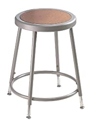 "National Public Seating 6218h Grey Steel Stool With Hardboard Seat Adjustable, 19""-27"""