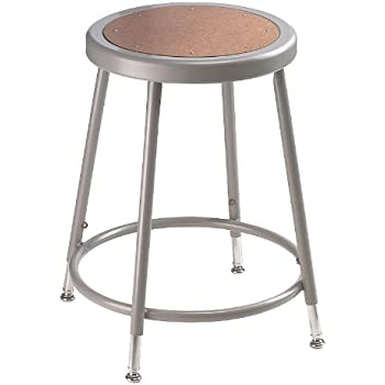 National Public Seating 6218H Grey Steel Stool With Hardboard Seat  Adjustable, ...